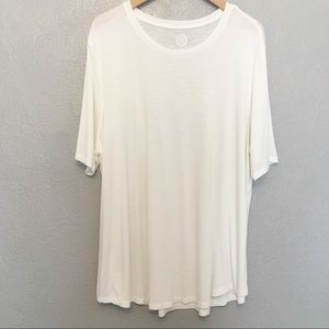 Maurices 24/7 White Short Sleeve Semi Sheer Top